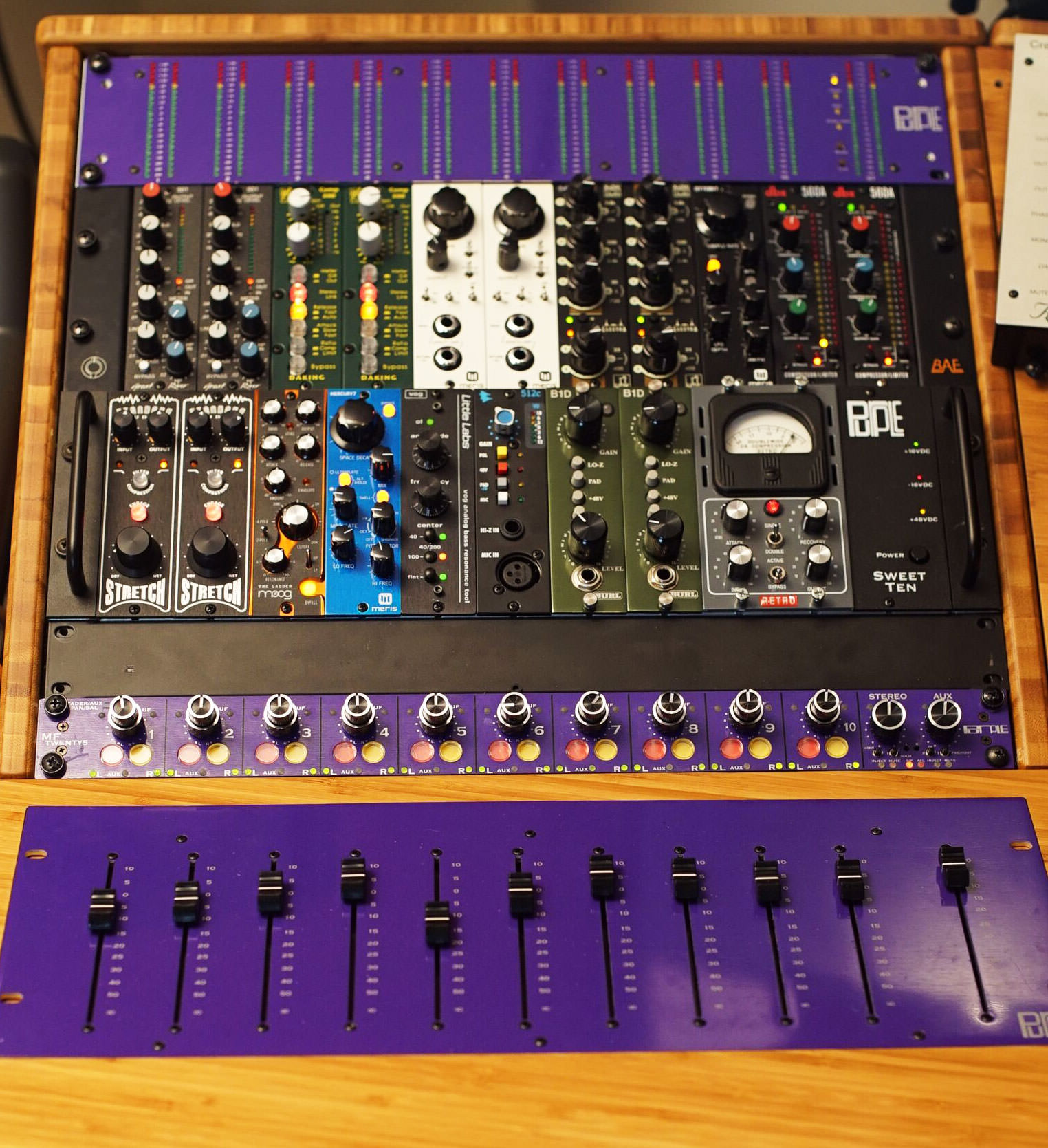 Purple Audio Mftwenty5 Modular Console Tape Op Magazine Mixer With Multiple Input Channels This Setups Attractiveness Lies In The Combination Of High Quality Sonics Good Ergonomics And Ability To Make Adjustments On Analog